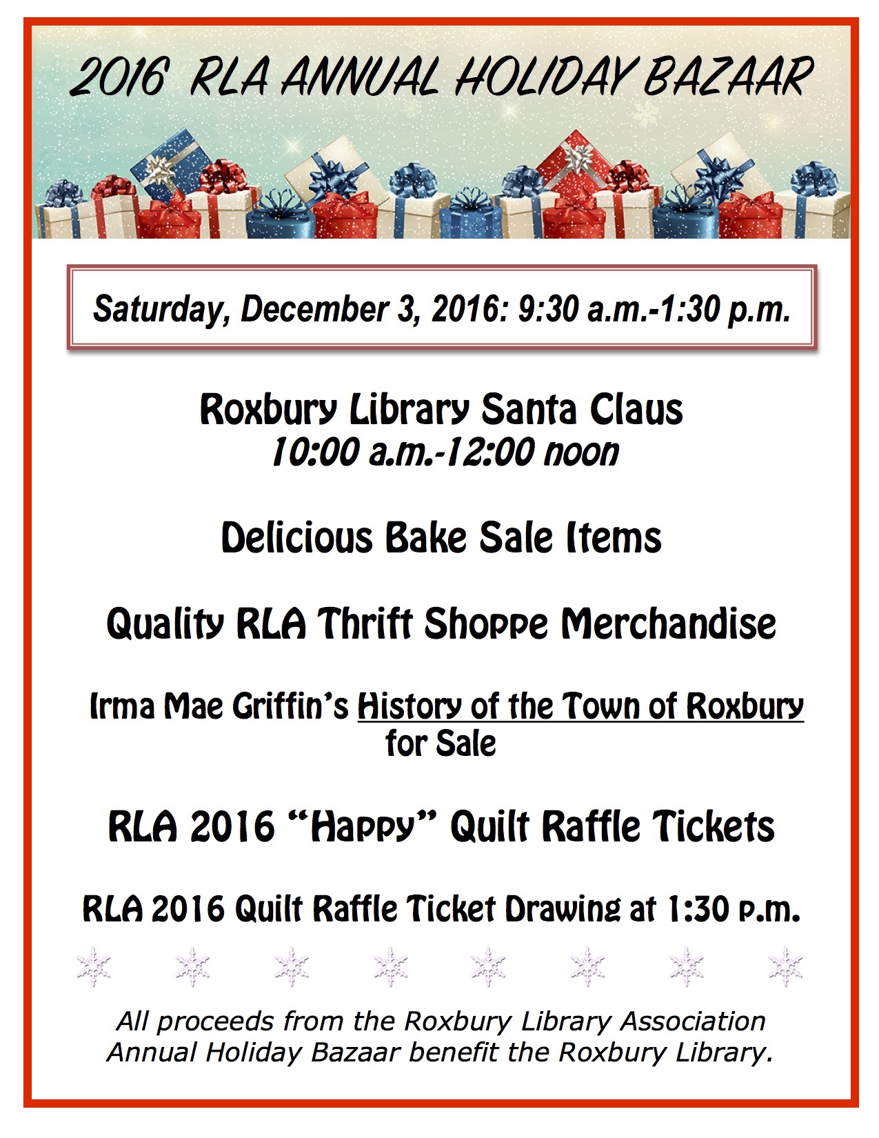 2016 Roxbury Library Assocation Annual Holiday Bazaar